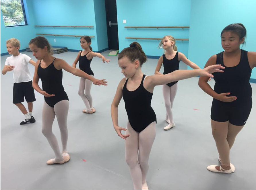 students in ballet dance class