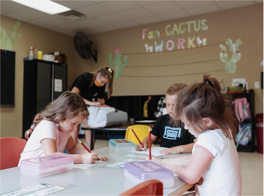 kids at a desk in after school care