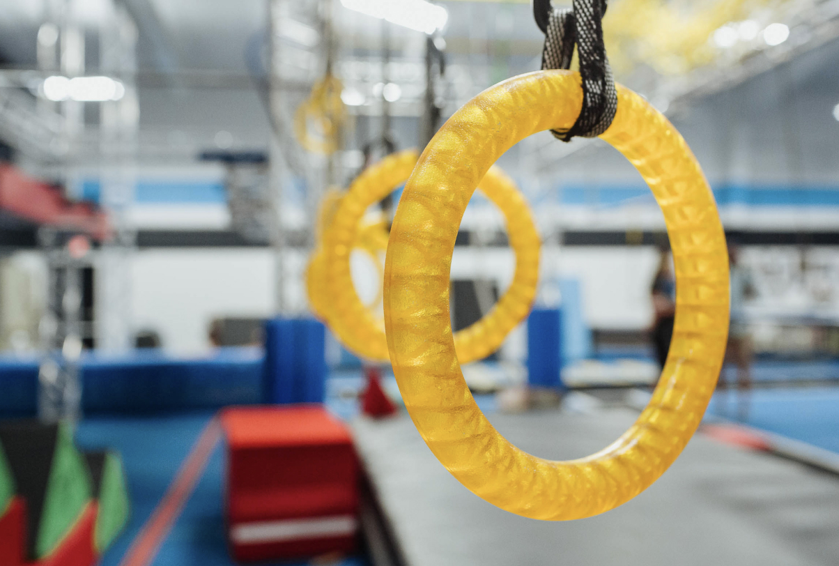 close up of rings on the ninja warrior course